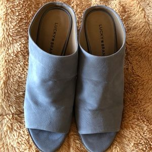 Blue/gray size 10 Lucky Brand slide on mules